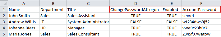 Import Account Options from CSV