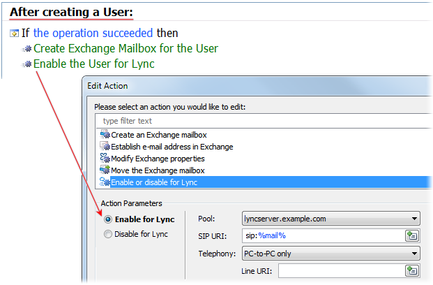 Enable for Lync Action