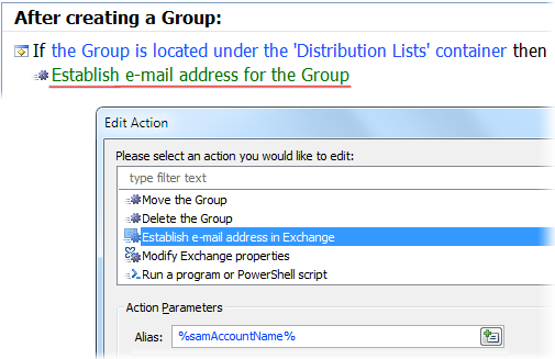 Establish Email Address Action