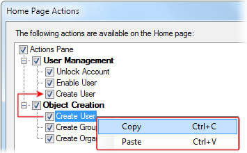 Moving and Copying Home Page Actions between Groups