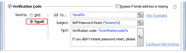 Password Self-Service Email Verification Code