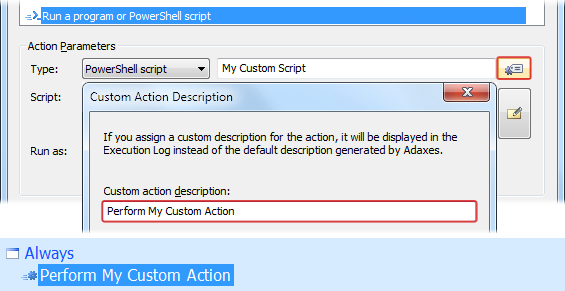 Custom Description for Run Script Action